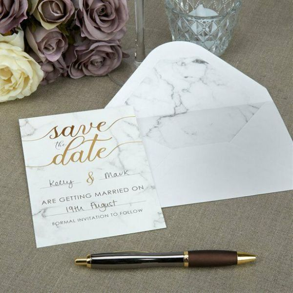 Scripted Marble Wedding 'Save The Date', 'Bridesmaid or 'Wedding' Cards